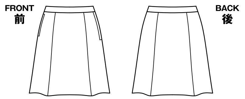 BONMAX AS2292 [通年]トリクシオントロピカル フレアースカート 無地 ハンガーイラスト・線画