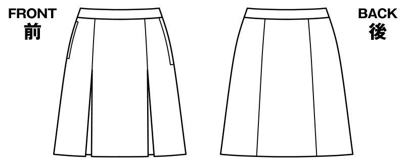 BONMAX AS2293 [通年]トリクシオントロピカル プリーツスカート 無地 ハンガーイラスト・線画