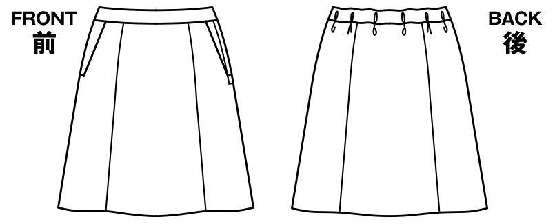 BONMA AS2300 [通年]コーデュラカラーST Aラインスカート ハンガーイラスト・線画