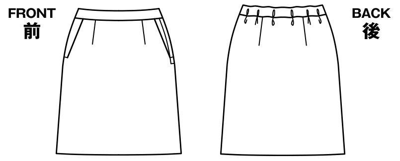 BONMAX AS2301 [通年]ハウンドトゥースニット セミタイトスカート ニット 無地 ハンガーイラスト・線画
