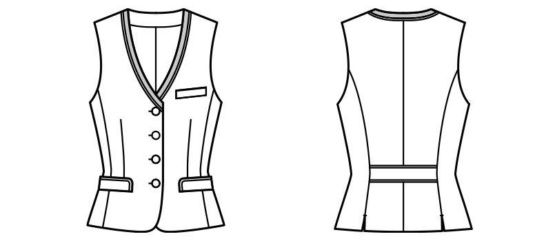 BONMAX AV1265 [通年]チェック柄ベスト[トラッドパターン] ハンガーイラスト・線画