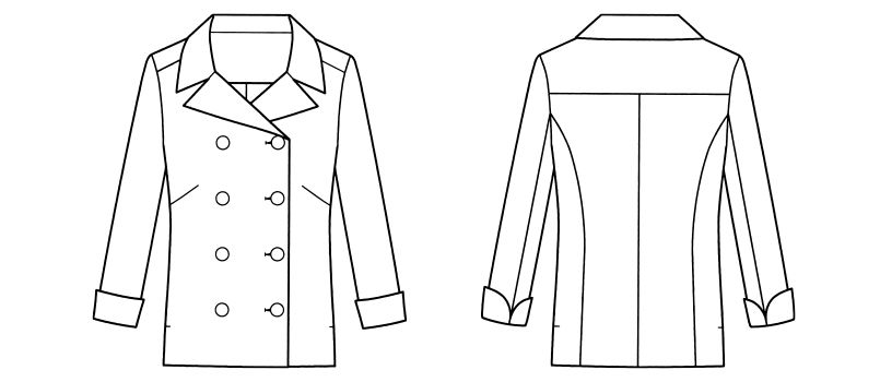 FB4013L FACEMIX コックシャツ(女性用) ハンガーイラスト・線画