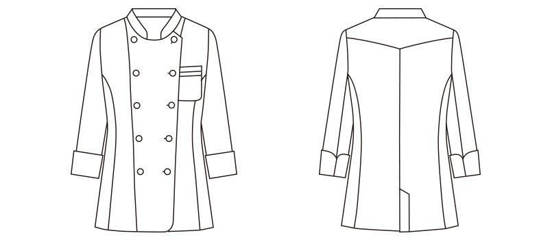 FB4015L FACEMIX コックシャツ(女性用) ハンガーイラスト・線画