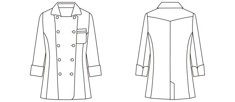 FB4016L FACEMIX コックシャツ(女性用) ハンガーイラスト・線画