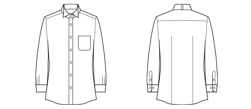 FB4025L FACEMIX ウイングカラーブラウス/長袖(女性用) ハンガーイラスト・線画