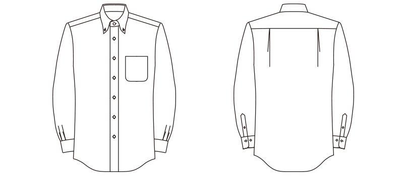 FB4508U FACEMIX ストライプシャツ/長袖(男女兼用)ボタンダウン ハンガーイラスト・線画