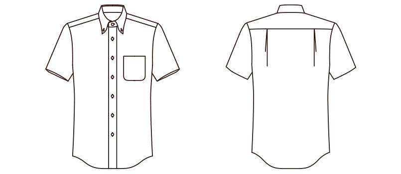 FB4511U FACEMIX オックスシャツ/半袖(男女兼用)無地ボタンダウン ハンガーイラスト・線画