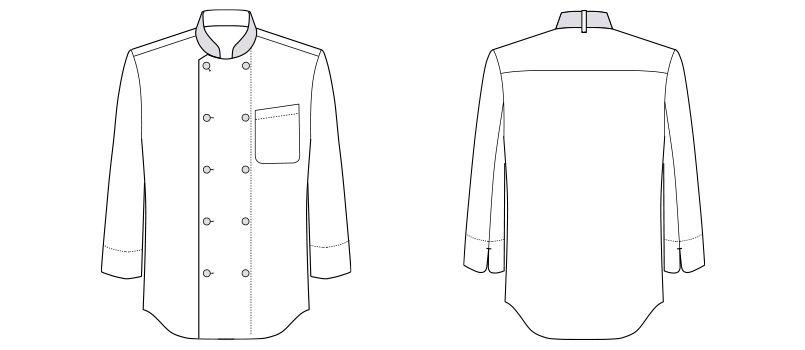 [在庫限り/返品交換不可]FB4514U FACEMIX コックシャツ/七分袖(男女兼用) ハンガーイラスト・線画