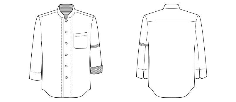 [在庫限り/返品交換不可]FB4515U FACEMIX コックシャツ/七分袖(男女兼用) ハンガーイラスト・線画