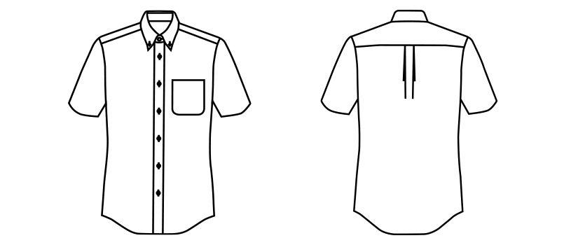 FB4518U FACEMIX アロハシャツリーフ柄(男女兼用)ボタンダウン ハンガーイラスト・線画