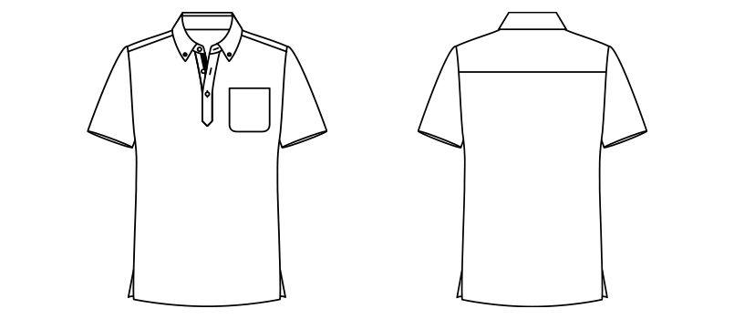 FB4523U FACEMIX チェックプリントドライポロシャツ/半袖(男女兼用)ボタンダウン ハンガーイラスト・線画