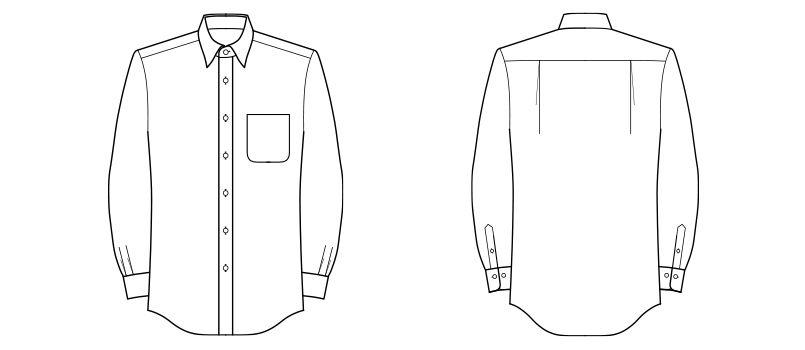 FB4526U FACEMIX ブロードレギュラーカラーシャツ/長袖(男女兼用) ハンガーイラスト・線画
