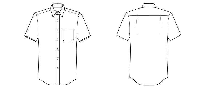 FB4527U FACEMIX ブロードレギュラーカラーシャツ/半袖(男女兼用) ハンガーイラスト・線画