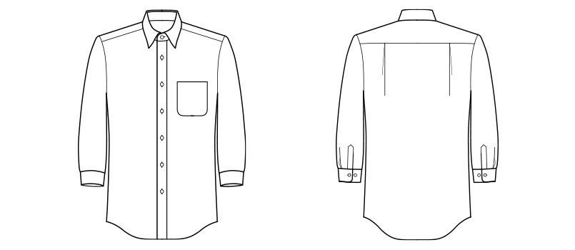 FB4528U FACEMIX ブロードレギュラーカラーシャツ/七分袖(男女兼用) ハンガーイラスト・線画