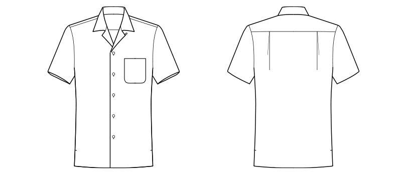 FB4529U FACEMIX ブロードオープンカラーシャツ/半袖(男女兼用) ハンガーイラスト・線画
