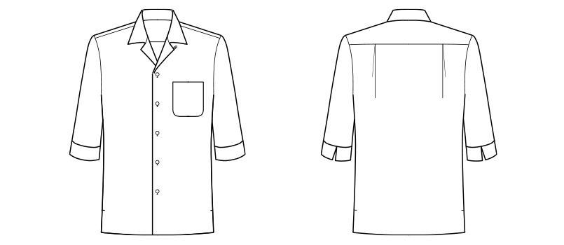 FB4530U FACEMIX オープンカラーシャツ/七分袖(男女兼用) ハンガーイラスト・線画