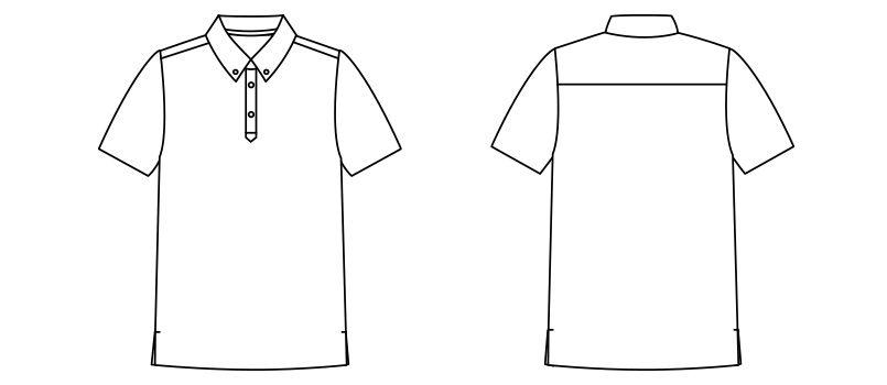 FB4531U ナチュラルスマイル ドライポロシャツ(男女兼用)ボタンダウン ハンガーイラスト・線画