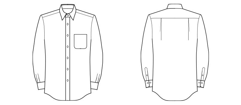 FB4534U FACEMIX レギュラーカラーブロードシャツ/長袖(男女兼用) ハンガーイラスト・線画
