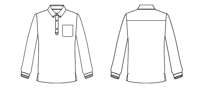 FB4536U ナチュラルスマイル 長袖 チェックプリントドライポロシャツ(男女兼用)ボタンダウン ハンガーイラスト・線画