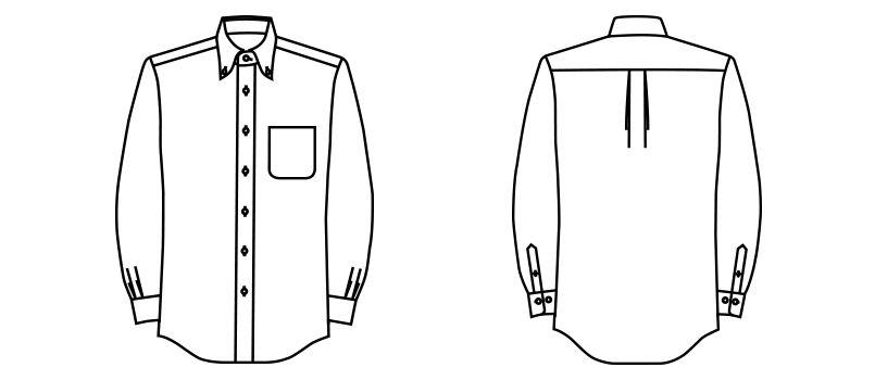 FB5010M FACEMIX 吸汗速乾シャツ/長袖(男性用)ボタンダウン ハンガーイラスト・線画