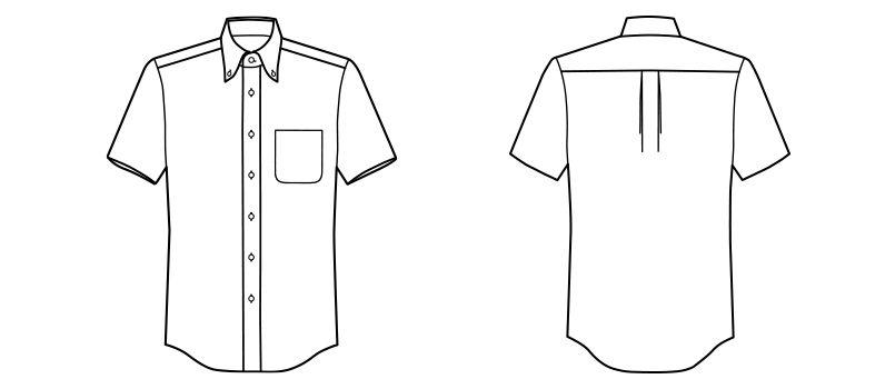 FB5013M FACEMIX 吸汗速乾シャツ/半袖(男性用)ボタンダウン ハンガーイラスト・線画