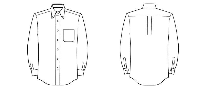 [在庫限り/返品交換不可]FB5014M FACEMIX 吸汗速乾シャツ/長袖(男性用)ボタンダウン ハンガーイラスト・線画