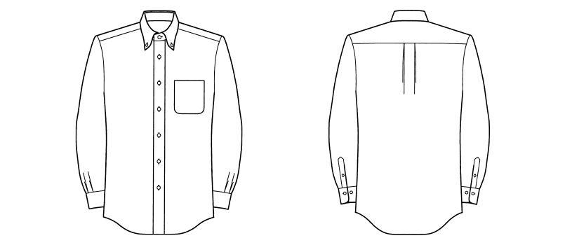 FB5015M FACEMIX 吸汗速乾シャツ/長袖(男性用)ボタンダウン ハンガーイラスト・線画