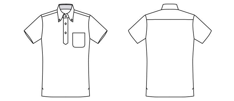 FB5023M ナチュラルスマイル ドライポロシャツ チェック(男性用)ボタンダウン ハンガーイラスト・線画