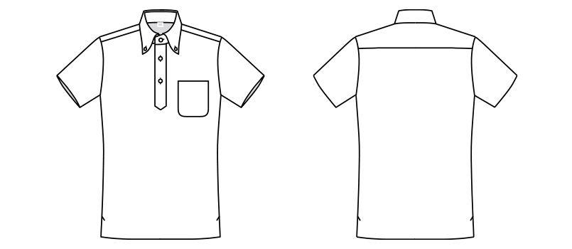 FB5025M ナチュラルスマイル ドライポロシャツ 花柄B(男性用)ボタンダウン ハンガーイラスト・線画