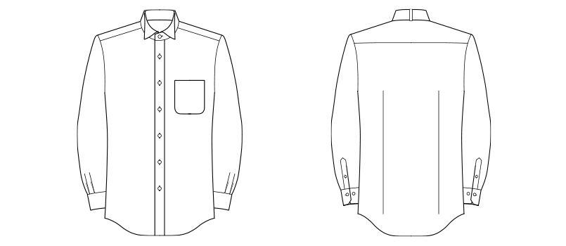 FB5032M FACEMIX ウイングカラーシャツ/長袖(男性用) ハンガーイラスト・線画