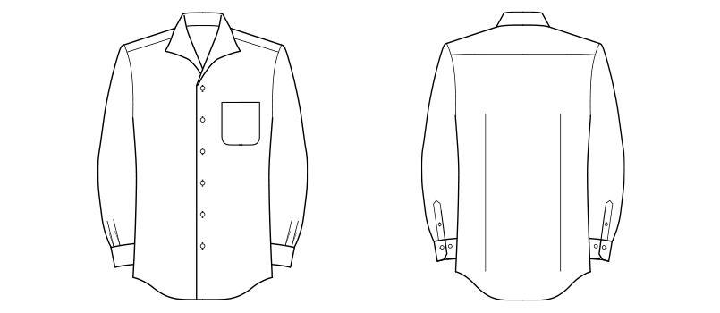 FB5033M FACEMIX イタリアンカラーシャツ/長袖(男性用) ハンガーイラスト・線画