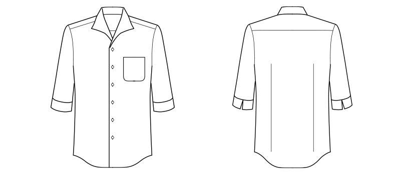 FB5034M FACEMIX イタリアンカラーシャツ/七分袖(男性用) ハンガーイラスト・線画