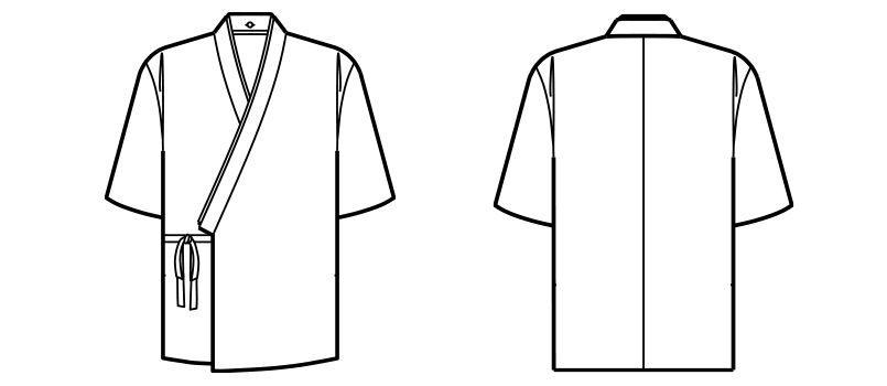 FJ0704U FACEMIX 作務衣(上衣)(男女兼用) ハンガーイラスト・線画