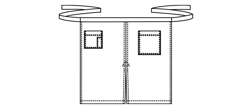 FK7062 FACEMIX ヒッコリーストライプエプロン ハンガーイラスト・線画