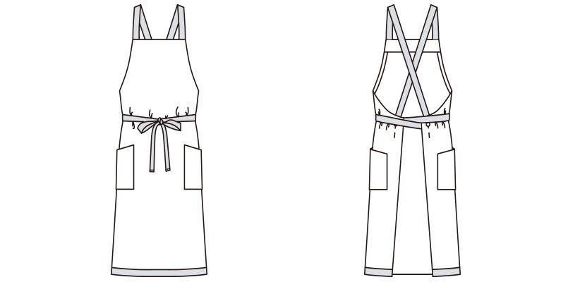 FK7121 FACEMIX 胸当てエプロンチェック柄 ハンガーイラスト・線画
