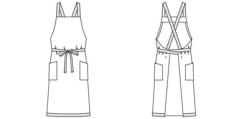 FK7122 FACEMIX ストライプ柄胸当てエプロン(男女兼用) ハンガーイラスト・線画