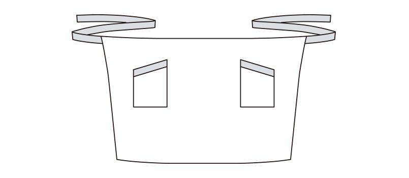 FK7124 FACEMIX ストライプ柄ミドルエプロン(男女兼用) ハンガーイラスト・線画
