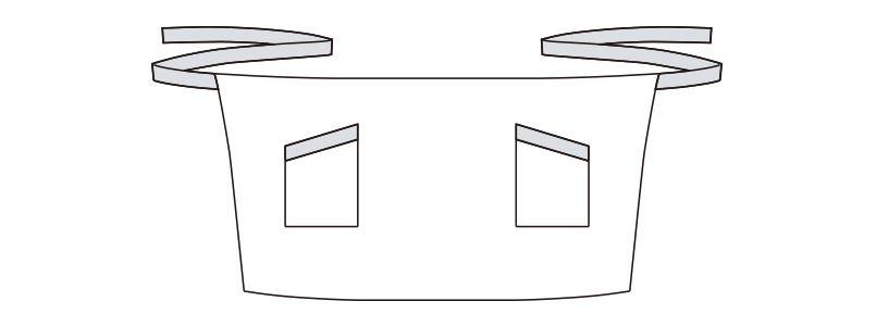 FK7126 FACEMIX ストライプ柄ショートエプロン(男女兼用) ハンガーイラスト・線画