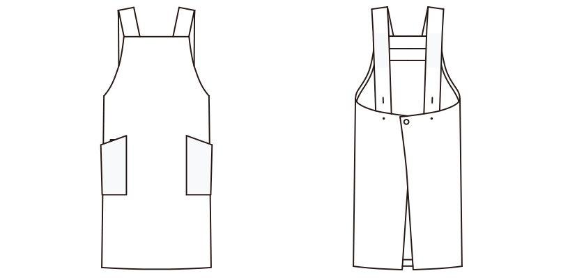 FK7128 FACEMIX 胸当てエプロンH型(男女兼用) ハンガーイラスト・線画