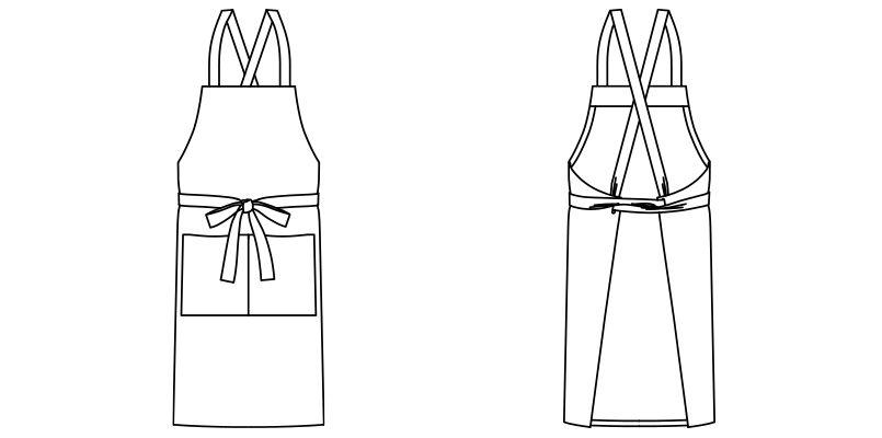 FK7154 FACEMIX デニム胸当てエプロン ハンガーイラスト・線画