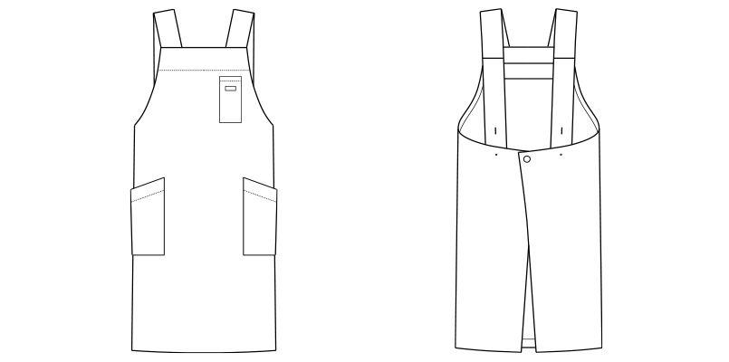 FK7164 FACEMIX H型胸当てエプロン(男女兼用) ハンガーイラスト・線画