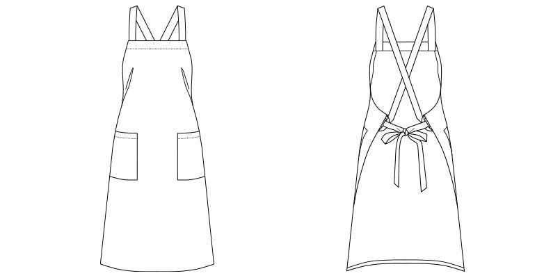 FK7168 FACEMIX 胸当てエプロン(男女兼用) ハンガーイラスト・線画