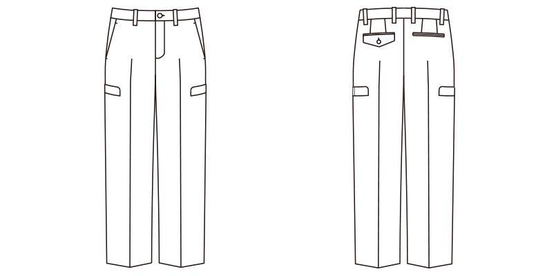 FP6004M FACEMIX ストレッチカーゴパンツ(男性用) ハンガーイラスト・線画