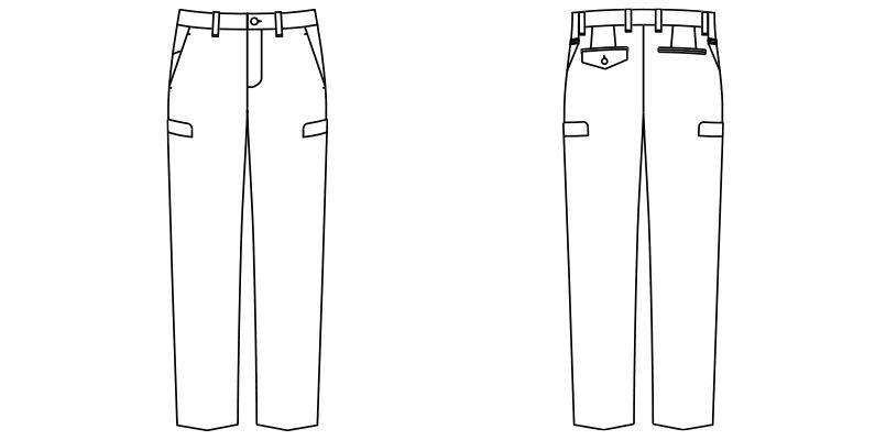 FP6006M ナチュラルスマイル ストレッチウエストリブパンツ(男性用) ハンガーイラスト・線画