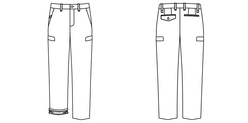 FP6007M FACEMIX ロールアップストレッチパンツ(男性用) ハンガーイラスト・線画