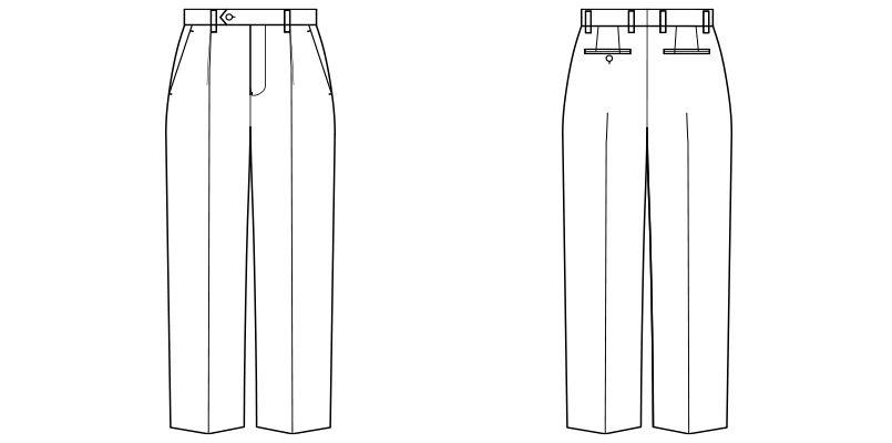 FP6018M FACEMIX/ALBA(アルバ) ストレッチワンタックパンツ(男性用) レギュラー/ストライプ ハンガーイラスト・線画