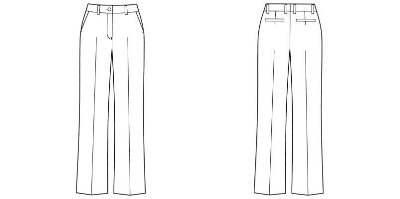 FP6301L FACEMIX ノータックストレートパンツ(女性用)ストライプ ハンガーイラスト・線画