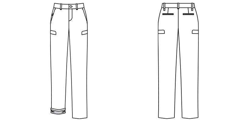 [在庫限り]FP6307L FACEMIX ロールアップストレッチパンツ(女性用) ハンガーイラスト・線画