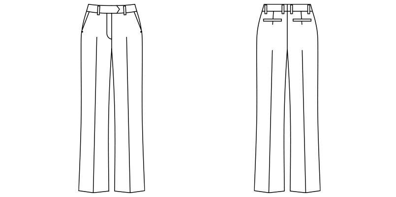 FP6312L FACEMIX ストレッチパンツ(女性用)無地 ハンガーイラスト・線画