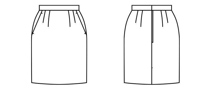 FS2000L FACEMIX/PAMIO(パミオ) セミタイトスカート(女性用) 無地 ハンガーイラスト・線画